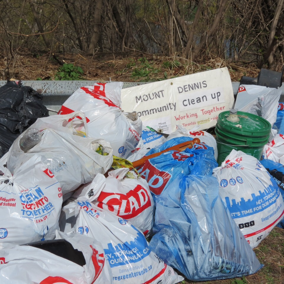 Bags from Earth Day clean-up